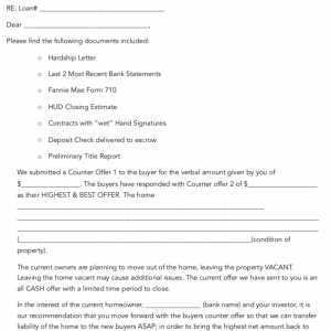 Short Sale Cover Letter